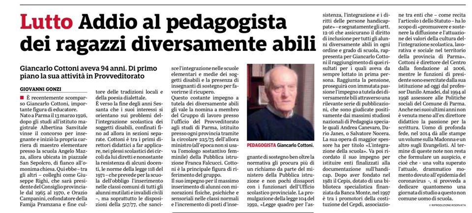 Addio a Giancarlo Cottoni: il ricordo del professor Amadei